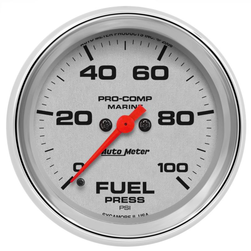 AutoMeter GAUGE; FUEL PRESSURE; 2 5/8in.; 100PSI; DIGITAL STEPPER MOTOR; MARINE CHROME