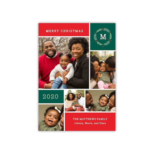 20 Pack of Gartner Studios® Personalized Family Wreath Christmas Photo Card in Red | 5
