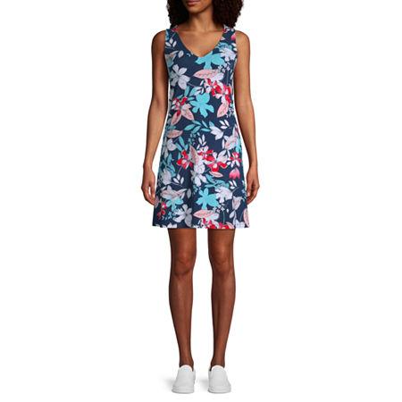 a.n.a. Tall Sleeveless Swing Dress, Large , Blue