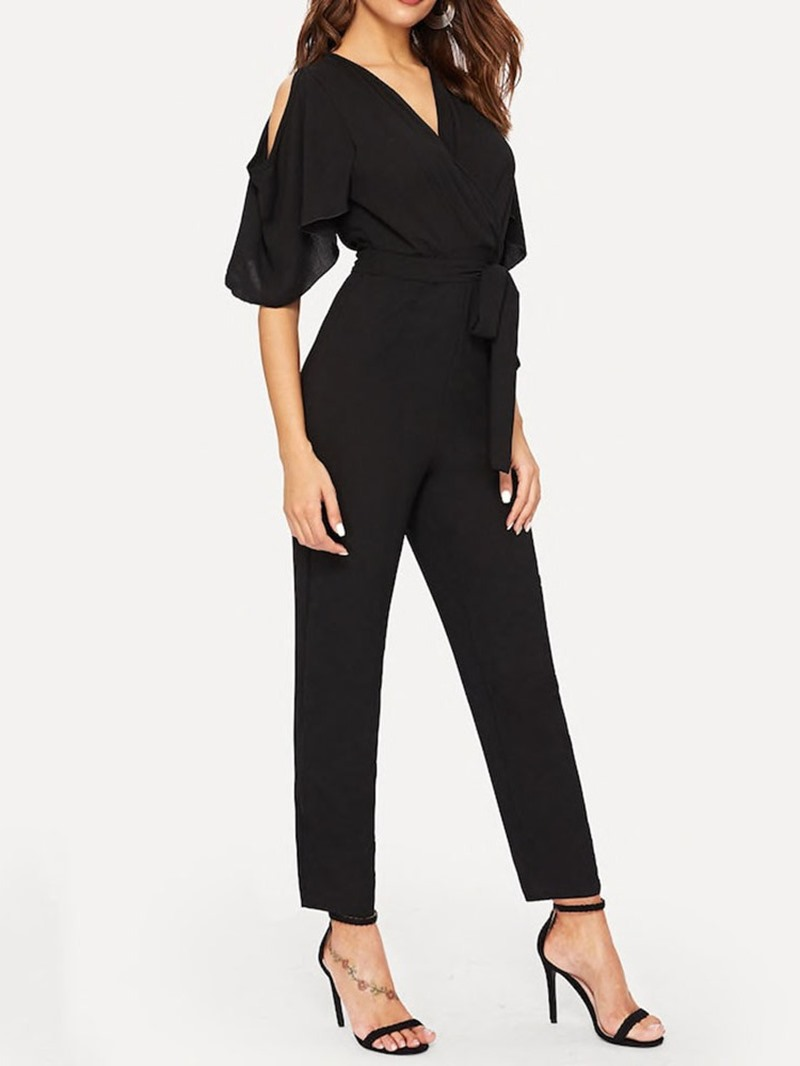 Ericdress Fashion Plain Lace-Up Slim Jumpsuit