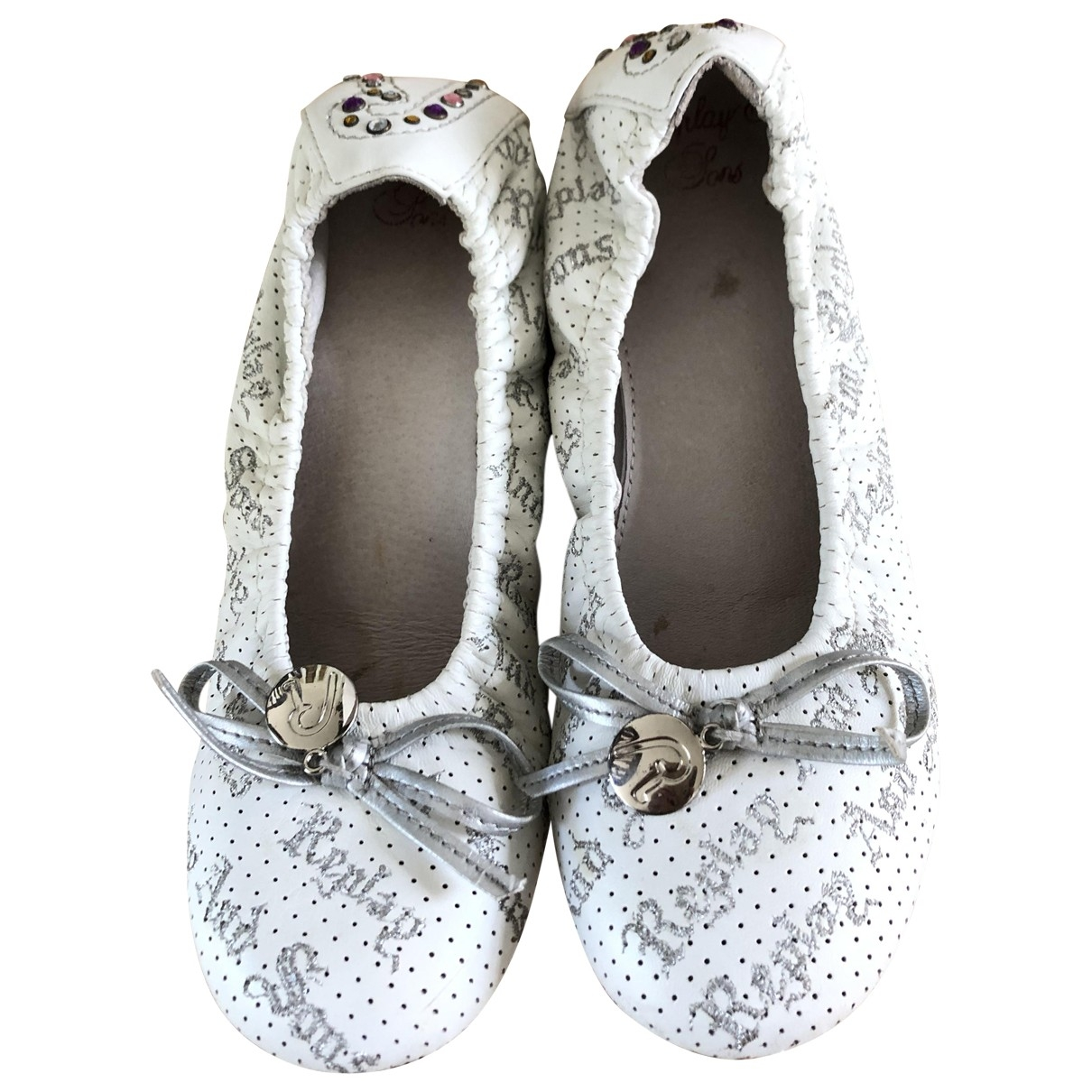 Replay \N White Leather Ballet flats for Women 37 EU