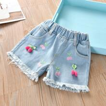 Toddler Girls Cherry Embroidered Raw Hem Denim Shorts