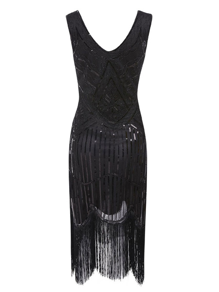 Milanoo 1920s Fashion Style Outfits Flapper Dress Green Fringe Sequins Great Gatsby V Neck Costume Retro 20s Party Dress