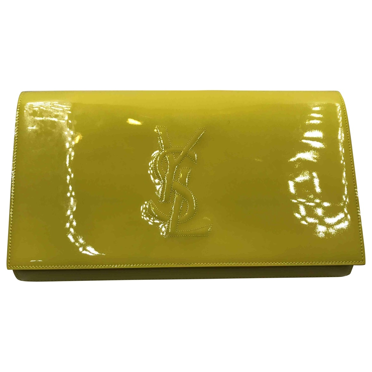 Saint Laurent Kate monogramme Yellow Leather Clutch bag for Women \N