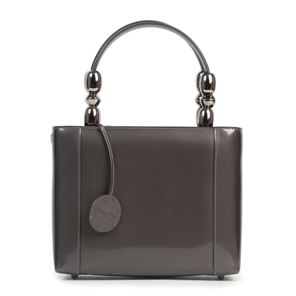 Dior - Sac a main Lady Perla pour femme en cuir verni - gris