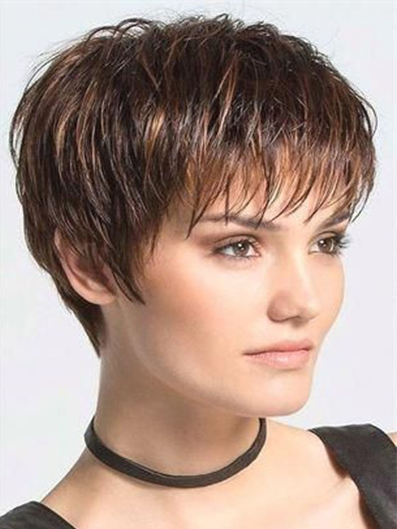 Ericdress Womens Pixie Cut Boy Cut Hairstyle Straight Synthetic Hair Wigs With Bangs Capless Wigs 6Inch