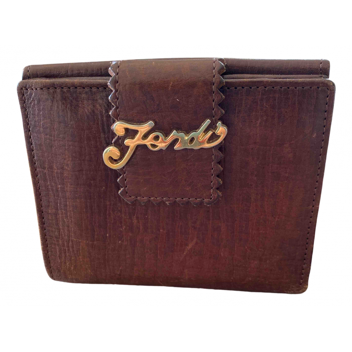 Fendi N Brown Leather wallet for Women N