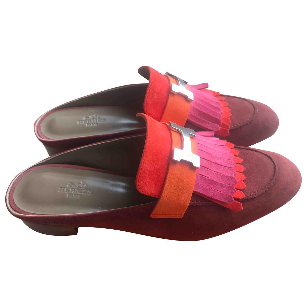 Hermes - Sandales Rivoli pour femme en suede - multicolore