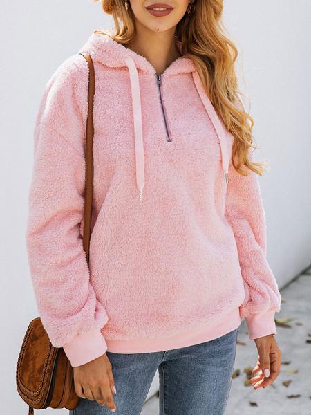 Milanoo Women Pink Hoodies Flannel Hooded Long Sleeves Drawstring Sweatshirts