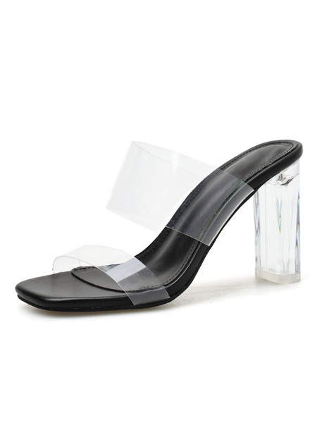 Milanoo High Heel Sandals Womens Transparent Open Toe Slingback Chunky Heel Sandals
