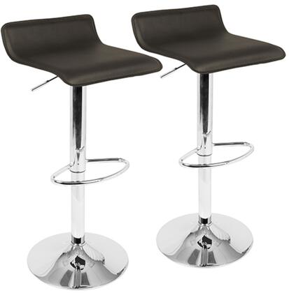 Ale Collection BS-ALEBN2 Set of 2 Barstools with 360-Degree Swivel  Adjustable Height  Square Shaped Seat  Footrest  Low Backrest  Contemporary Style