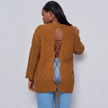 Plus Lace Up Back Drop Shoulder Sweater
