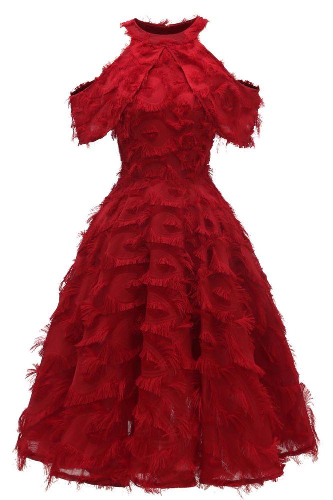 Elegante Vintage Kleidung Damen Rot   Retro Neckholder A-Linie Heimkehr Kleid