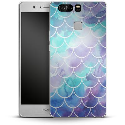 Huawei P9 Silikon Handyhuelle - Purple Mermaid Scales von Becky Starsmore