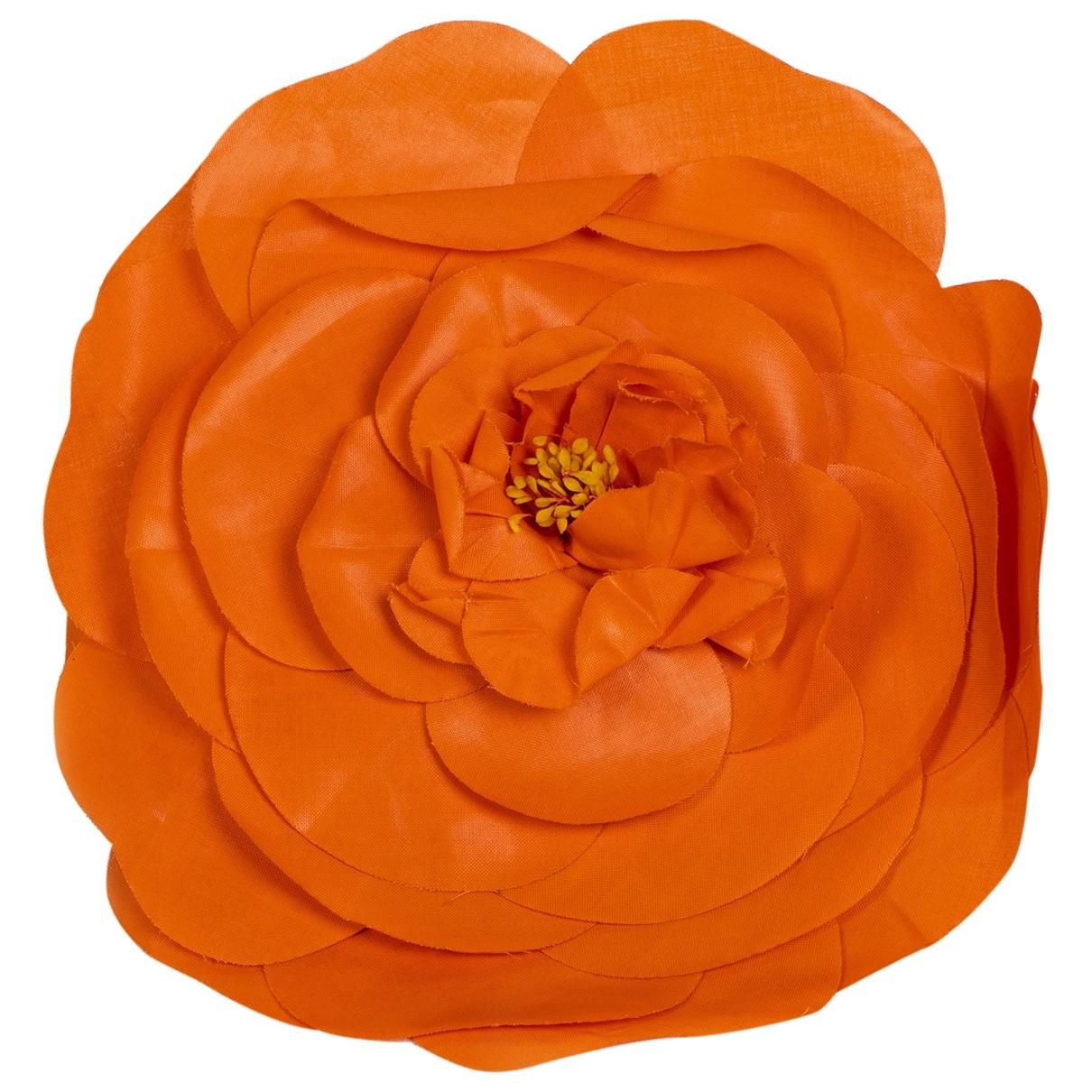 Chanel - Broche Camelia pour femme en toile - orange
