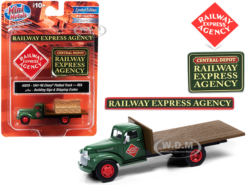 1941-1946 Chevrolet Flatbed Truck Green with Shipping Crates and Building Signs