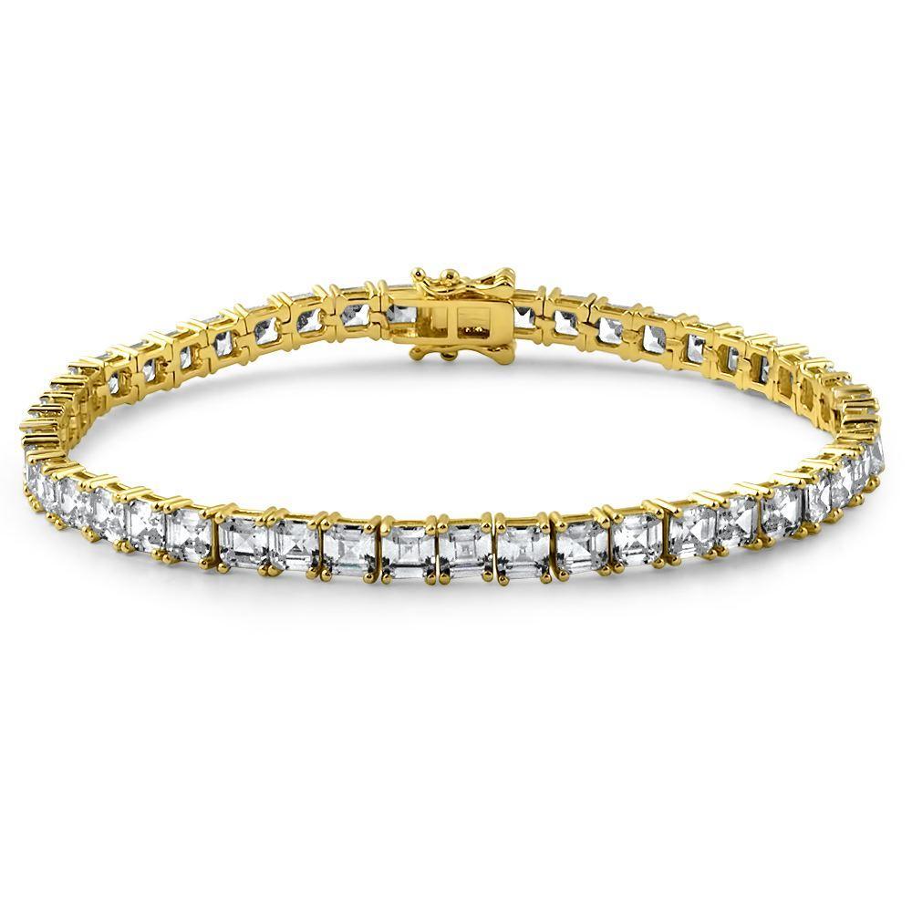 Asscher Cut CZ Tennis Bracelet Prong Set