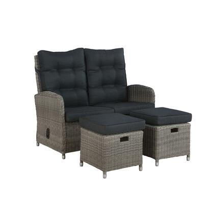 Monaco Collection AWWH023HH All-Weather 3-Piece Set with Two-Seat Reclining Bench and Two