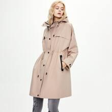 Jazzevar Mantel mit Kordelzug auf Taille und Kapuze