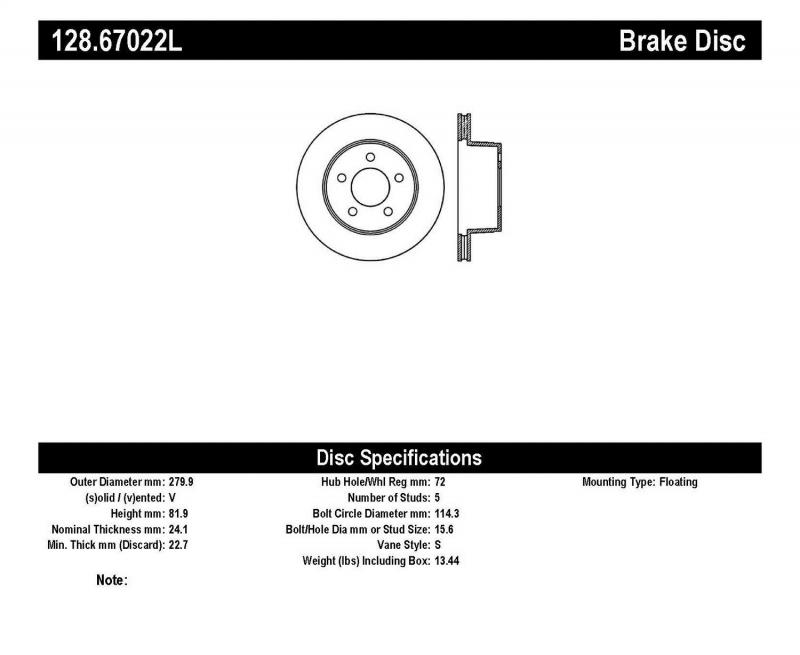 StopTech 128.67022L Sport Cross Drilled Brake Rotor; Front Left Jeep Front Left