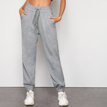 Drawstring Waist Solid Sweatpants