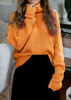 Open Back Turtleneck Knitted Sweater - Yellow