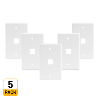 1 Port Keystone Wall Plate for RJ45 RJ11 RJ12 RCA F-Type Jack - White - PrimeCables® - 5/Pack