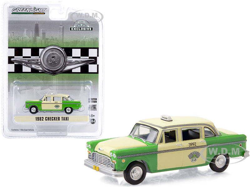 1982 Checker Taxi Green and Yellow Checker Taxi Affl Inc. (Chicago Illinois) Hobby Exclusive 1/64 Diecast Model Car by Greenlight