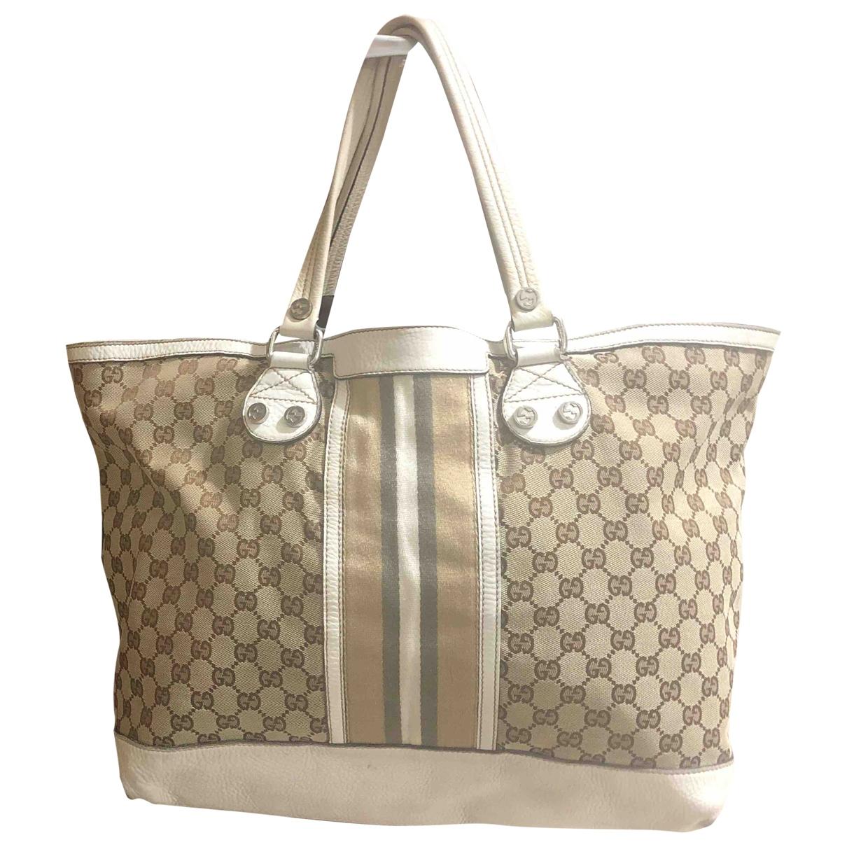 Gucci \N Handtasche in  Weiss Leinen