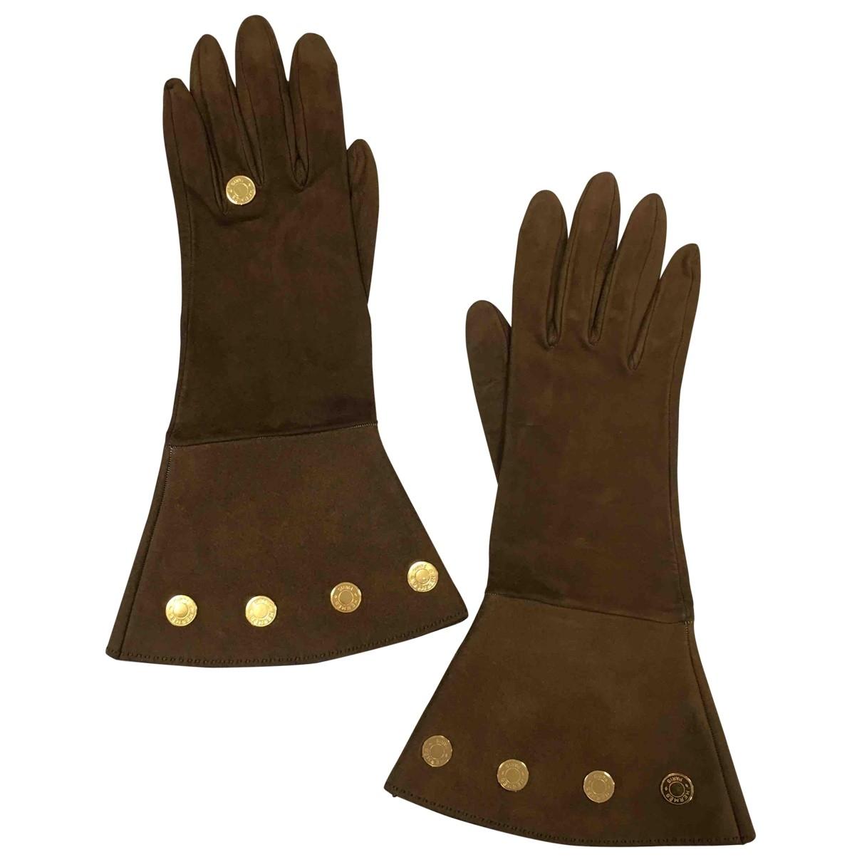 Hermes \N Handschuhe in  Braun Veloursleder