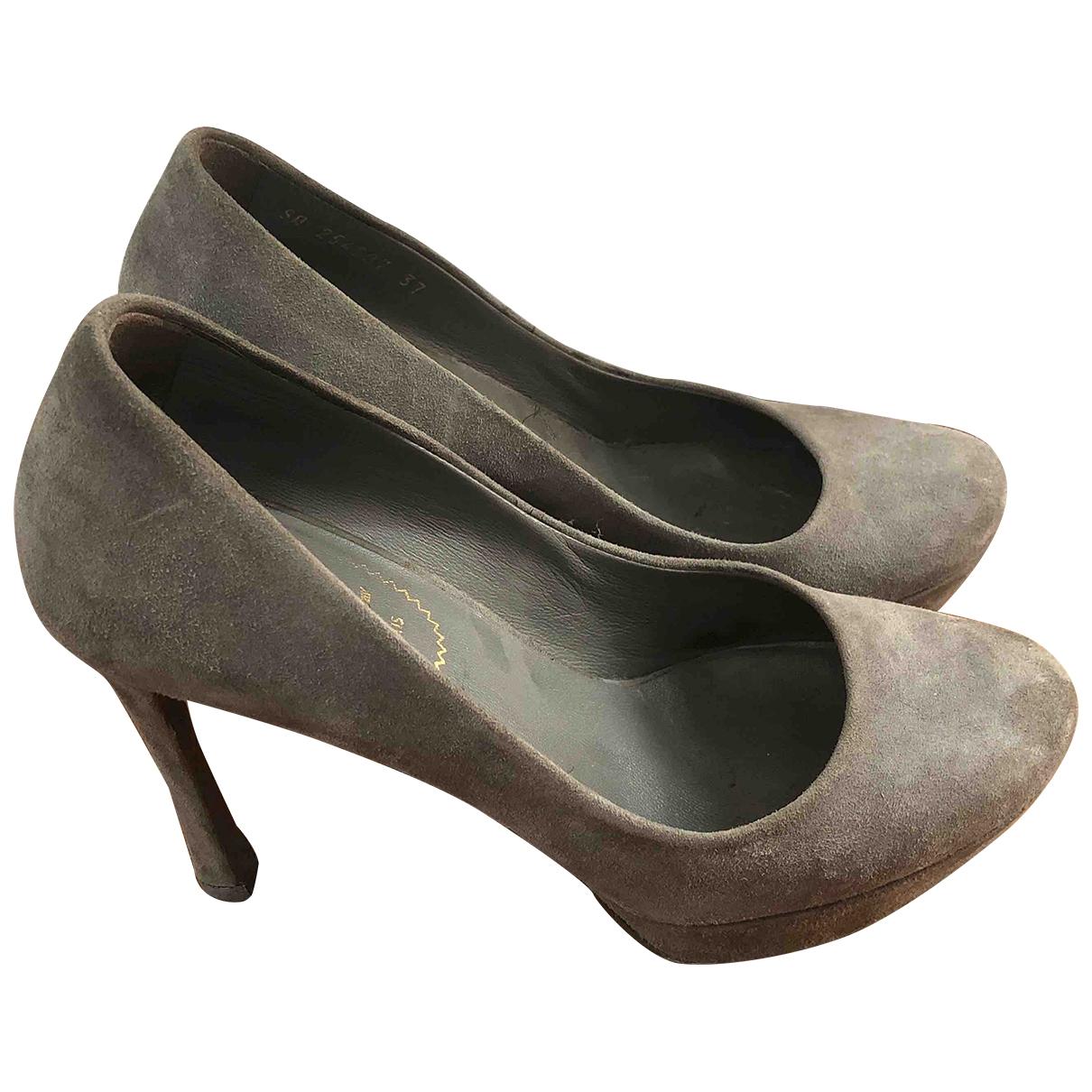 Yves Saint Laurent Trib Too Grey Suede Heels for Women 37 EU