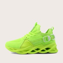 Neon Lime Low Top Knit Chunky Sneakers