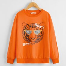 Boys Tiger and Letter Graphic Pullover
