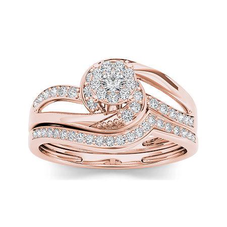 1/3 CT. T.W. Diamond 10K Rose Gold Bridal Set, 6 1/2 , No Color Family