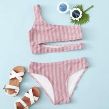 Girls Striped Cut-out One Shoulder Bikini Swimsuit