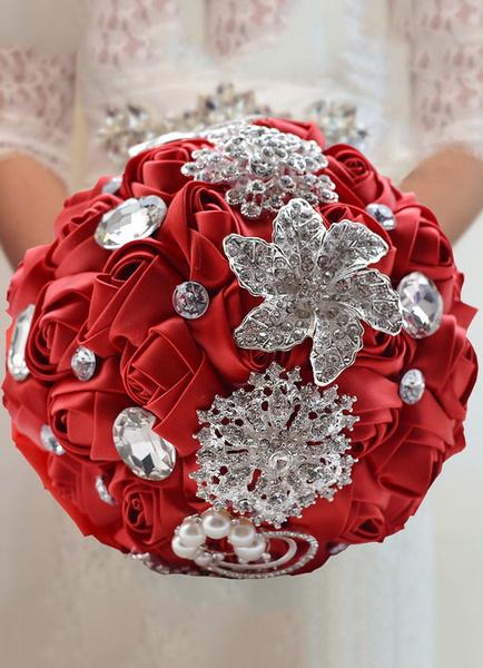 Milanoo Wedding Flowers Bouquet Satin Pearls Rhinestones Beaded Ribbons Bridal Bouquet