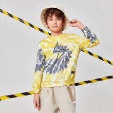 Boys Lightning Print Tie Dye Pullover