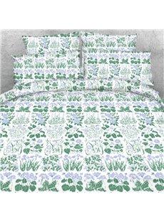 Designer Spring Green Buds and Plants Printed Polyester 4-Piece Bedding Sets/Duvet Cover