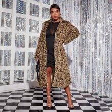 Plus Leopard Longline Teddy Coat