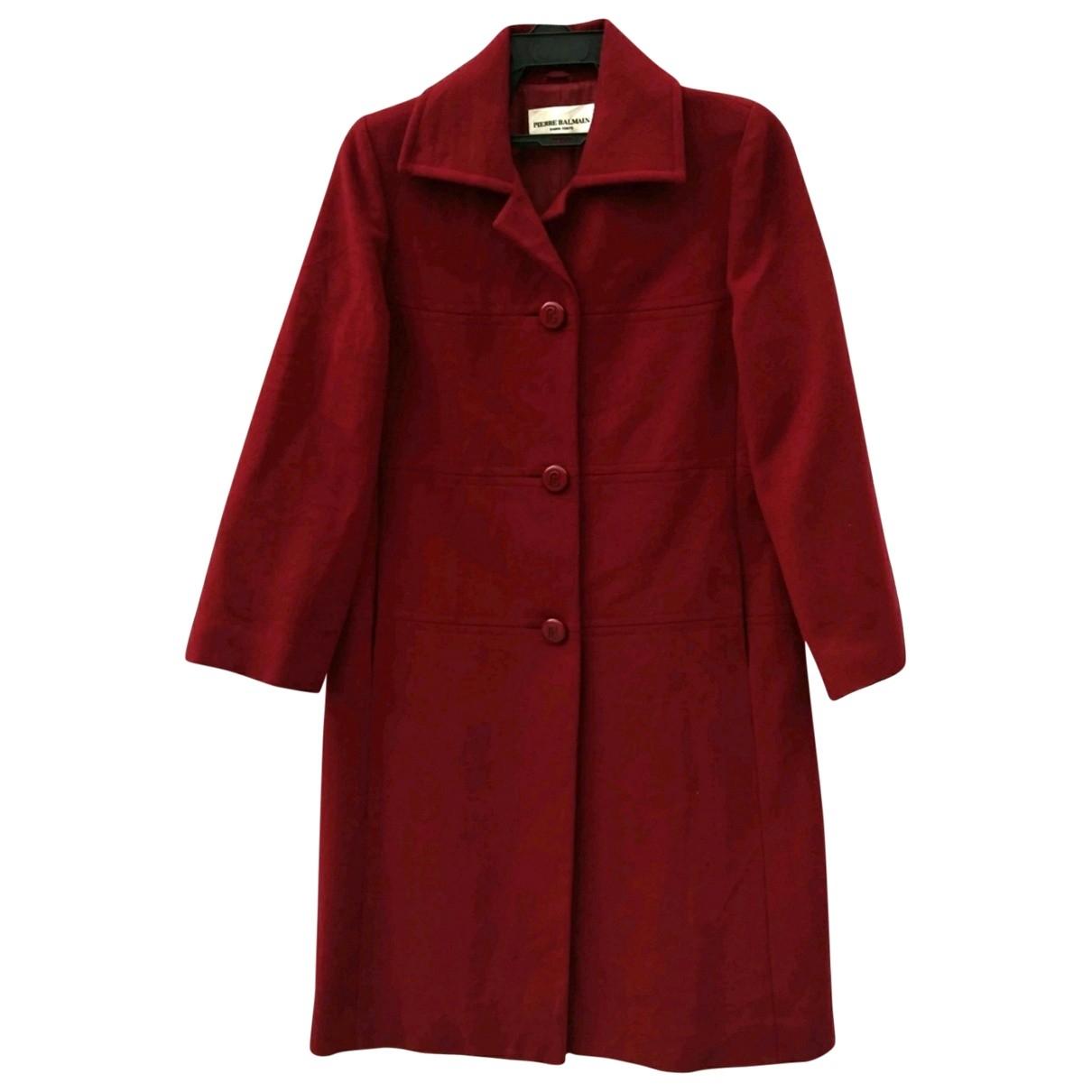 Pierre Balmain - Manteau   pour femme en laine - rouge