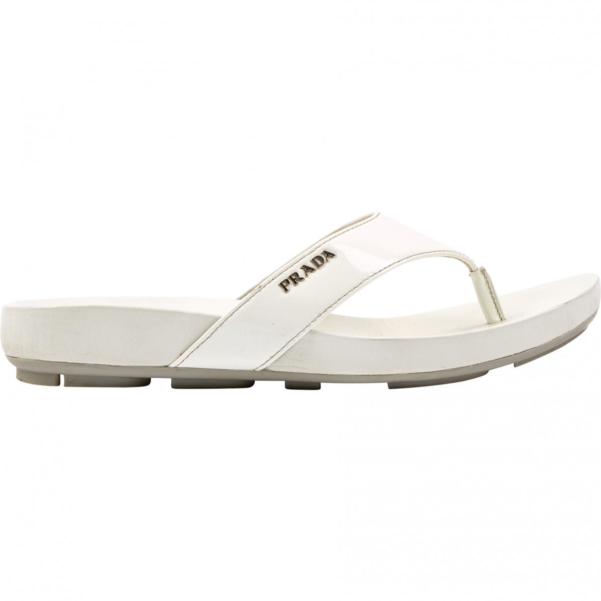Prada \N White Leather Sandals for Women 41 EU