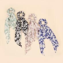 4pcs Ditsy Floral Pattern Scrunchie Scarf