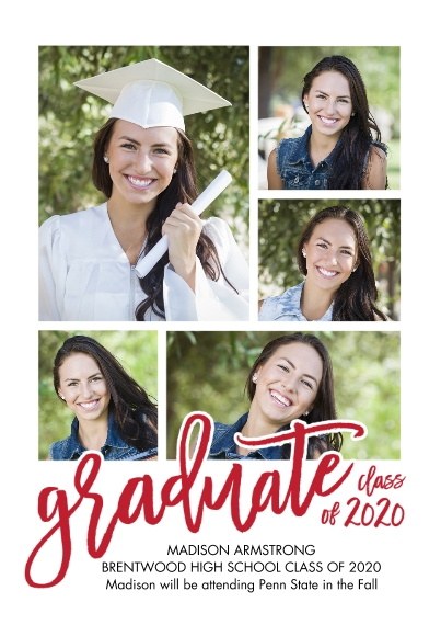 2020 Graduation Announcements 5x7 Cards, Premium Cardstock 120lb, Card & Stationery -Graduate 2020 Collage by Tumbalina