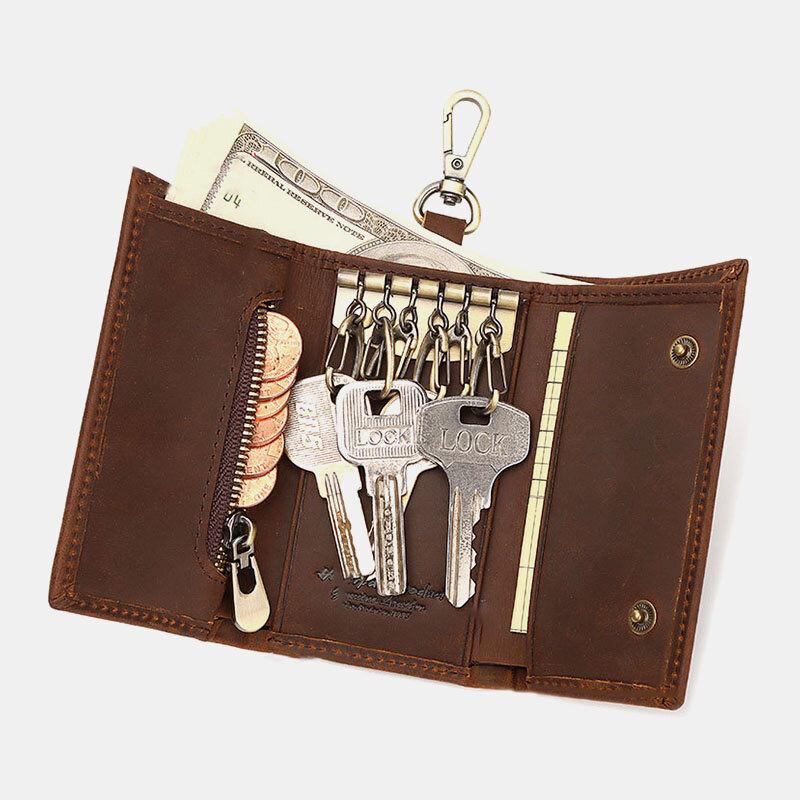 Men Genuine Leather Keychain Wallet Coin Purse