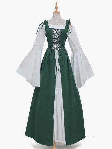 Milanoo Vestido vintage medieval Vestido verde de manga larga con capas Swing Disfraz de Cosplay Halloween