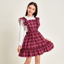 Kleid mit Ruesche, Riemen und Karo Muster
