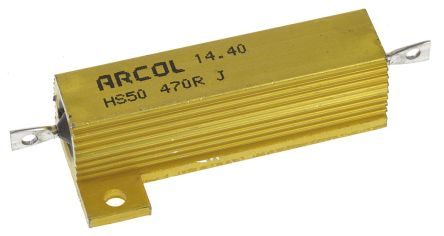 Arcol HS50 Series Aluminium Housed Axial Wire Wound Panel Mount Resistor, 470Ω ±5% 50W (20)
