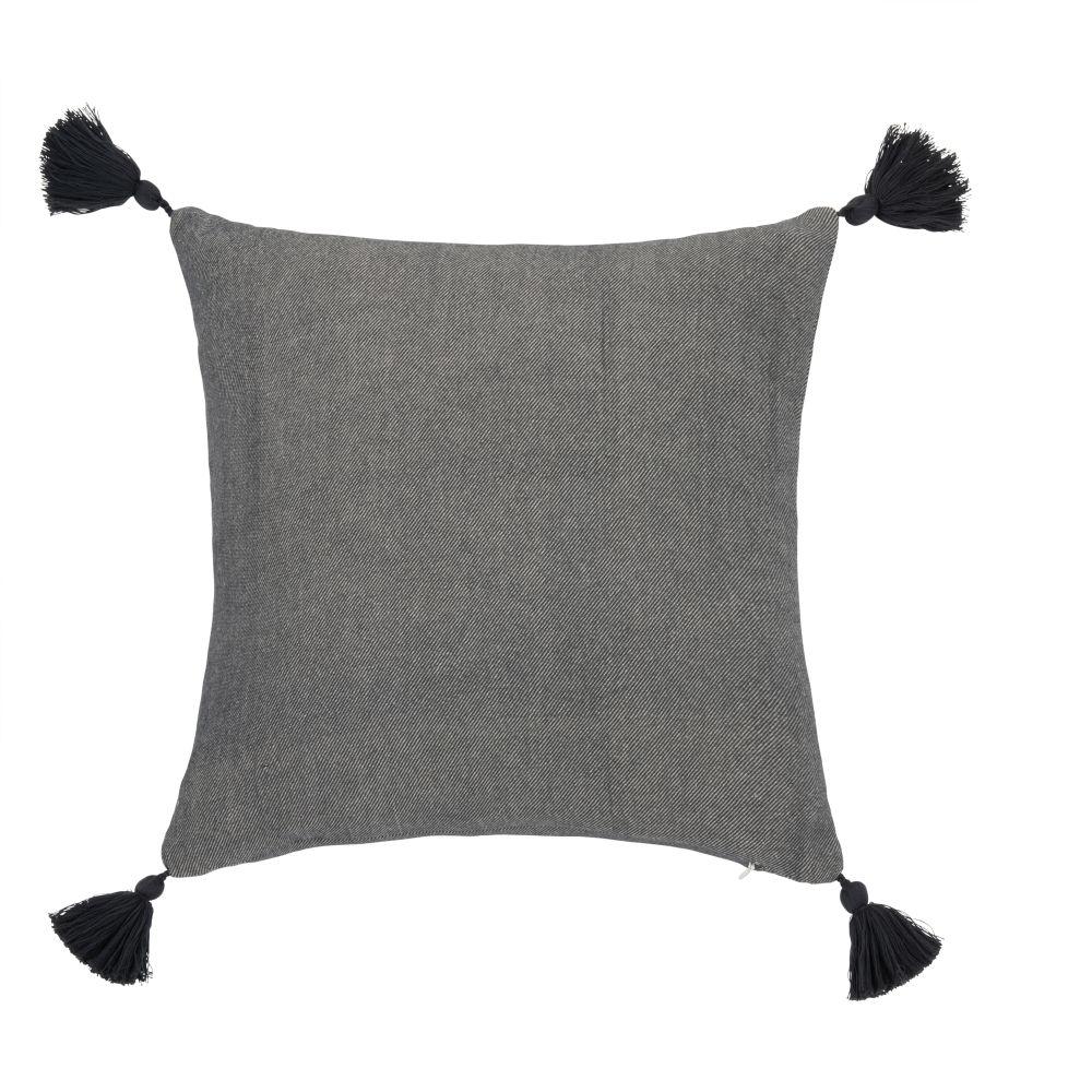 Kissenbezug aus Baumwolle, grau-beige mit Pompons 40x40