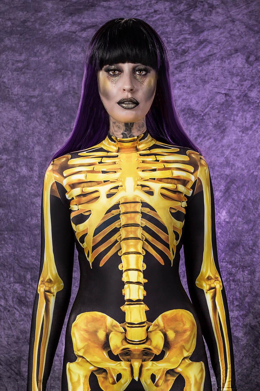Golden Skeleton Halloween Bodysuit - Sexy Skeleton Costume Women