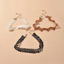3 Stuecke Halsband mit Kontrast Spitzen
